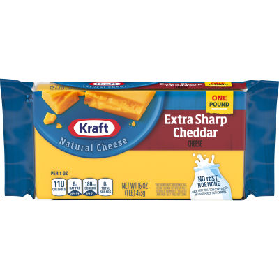 Kraft Extra Sharp Cheddar Cheese 16 oz Wrapper